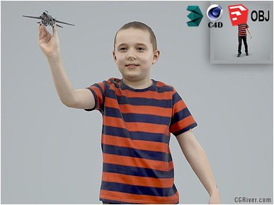 Boy / Child | Casual CBoy0005-HD2-O02P01-S - Ready-Posed 3D Human Model / Male Character (Kids / Children Still)