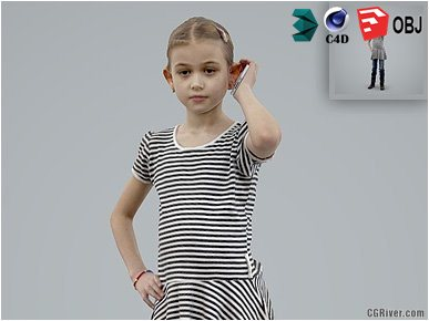 Girl / Child | Casual CGirl0003-HD2-O02P01-S Ready-Posed 3D Human Model / Female Character (Kids / Children Still)