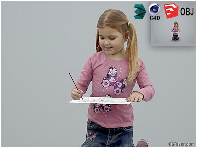 Girl / Child | Casual CGirl0004-HD2-O01P01-S Ready-Posed 3D Human Model / Female Character (Kids / Children Still)