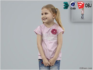 Girl / Child | Casual CGirl0004-HD2-O02P01-S Ready-Posed 3D Human Model / Female Character (Kids / Children Still)
