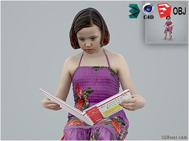 Girl / Child | Casual CGirl0005-HD2-O02P01-S Ready-Posed 3D Human Model / Female Character (Kids / Children Still)