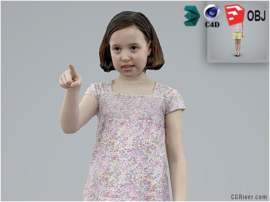 Girl / Child | Casual CGirl0005-HD2-O03P01-S Ready-Posed 3D Human Model / Female Character (Kids / Children Still)