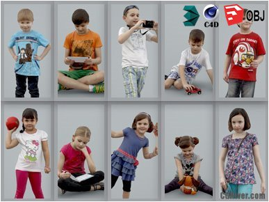 10 High Quality Still 3D Humans / (Kids & Children) People - MeMsS009HD2 - AXYZ Design Ready-Posed Model Pack