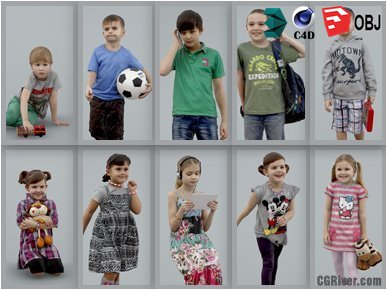 10 High Quality Still 3D Humans / (Kids & Children) People - MeMsS010HD2 - AXYZ Design Ready-Posed Model Pack