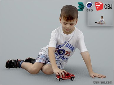 Boy / Child | Casual CBoy0001-HD2-O01P01-S - Ready-Posed 3D Human Model / Male Character (Kids / Children Still)