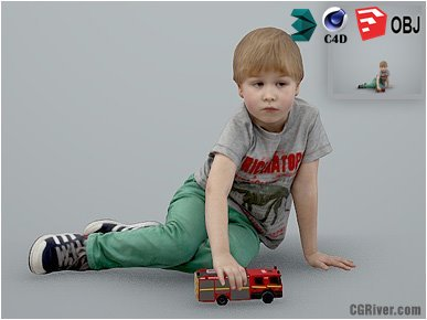 Boy / Child | Casual CBoy0003-HD2-O03P01-S - Ready-Posed 3D Human Model / Male Character (Kids / Children Still)