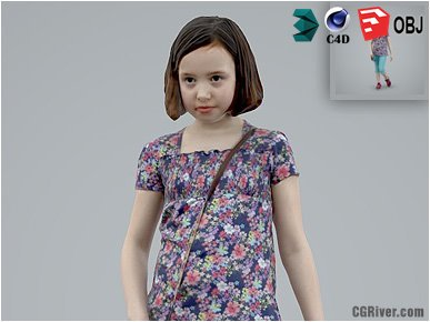 Girl / Child | Casual CGirl0005-HD2-O01P01-S Ready-Posed 3D Human Model / Female Character (Kids / Children Still)