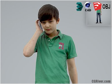 Boy / Child | Casual CBoy0004-HD2-O03P01-S - Ready-Posed 3D Human Model / Male Character (Kids / Children Still)
