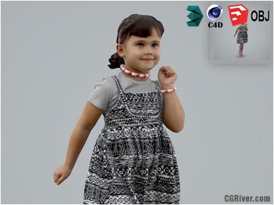 Girl / Child | Casual CGirl0001-HD2-O03P01-S Ready-Posed 3D Human Model / Female Character (Kids / Children Still)
