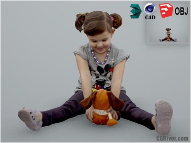 Girl / Child | Casual CGirl0001-HD2-O01P01-S Ready-Posed 3D Human Model / Female Character (Kids / Children Still)