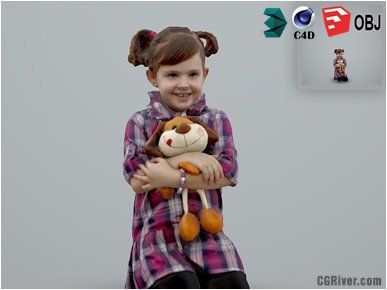 Girl / Child | Casual CGirl0002-HD2-O02P01-S Ready-Posed 3D Human Model / Female Character (Kids / Children Still)