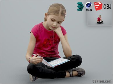 Girl / Child | Casual CGirl0003-HD2-O01P01-S Ready-Posed 3D Human Model / Female Character (Kids / Children Still)