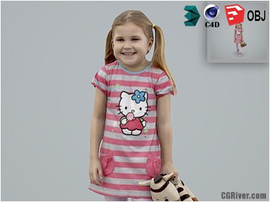 Girl / Child | Casual CGirl0004-HD2-O03P01-S Ready-Posed 3D Human Model / Female Character (Kids / Children Still)