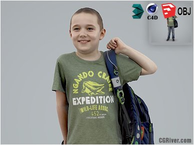 Boy / Child | Casual CBoy0005-HD2-O03P01-S - Ready-Posed 3D Human Model / Male Character (Kids / Children Still)