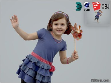 Girl / Child | Casual CGirl0002-HD2-O01P01-S Ready-Posed 3D Human Model / Female Character (Kids / Children Still)