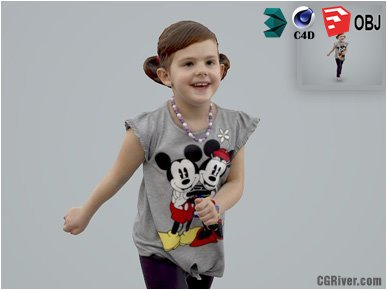 Girl / Child | Casual CGirl0002-HD2-O03P01-S Ready-Posed 3D Human Model / Female Character (Kids / Children Still)