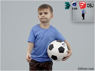 Boy / Child | Casual CBoy0001-HD2-O03P01-S - Ready-Posed 3D Human Model / Male Character (Kids / Children Still)