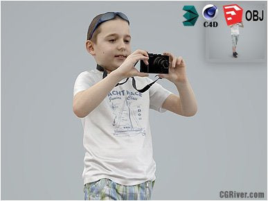 Boy / Child | Casual CBoy0005-HD2-O01P01-S - Ready-Posed 3D Human Model / Male Character (Kids / Children Still)
