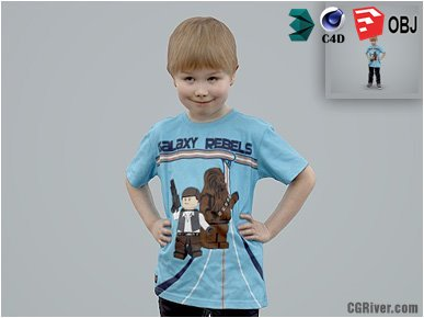 Boy / Child | Casual CBoy0003-HD2-O01P01-S - Ready-Posed 3D Human Model / Male Character (Kids / Children Still)