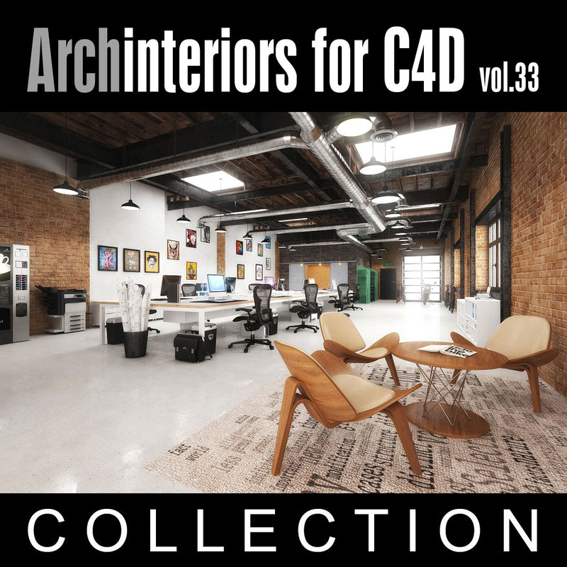 Archinteriors for C4D vol. 33 (Evermotion 3D Model Sets) - 10 x 3D Interior Scenes for C4D