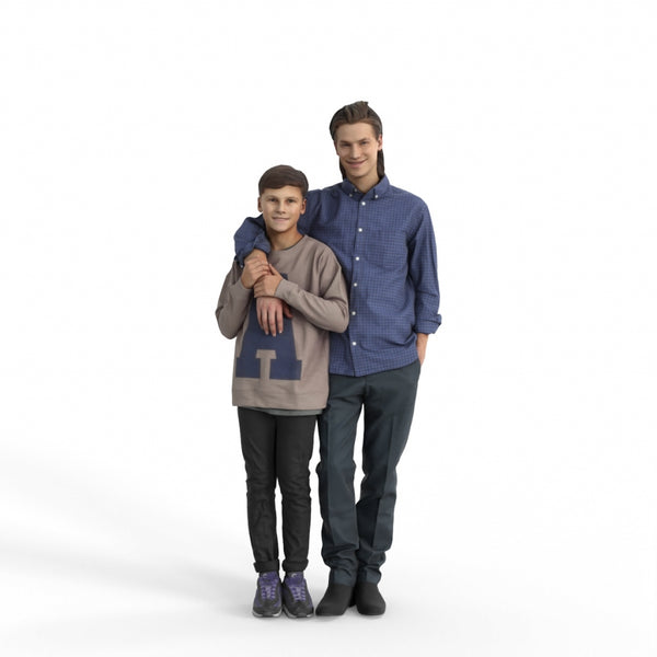 Casual Family | cfam0308hd2o01p01s | Ready-Posed 3D Human Model (Brothers/Boys/Still)