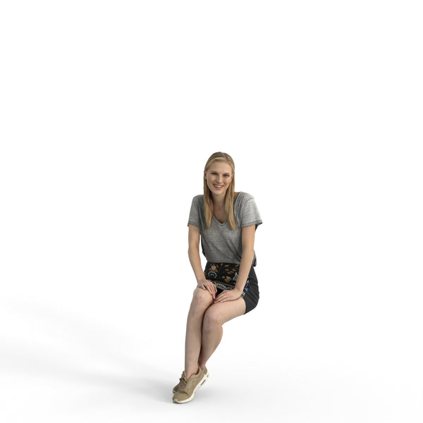 Casual Woman | cwom0328hd2o04p01s | Ready-Posed 3D Human Model (Woman / Still)