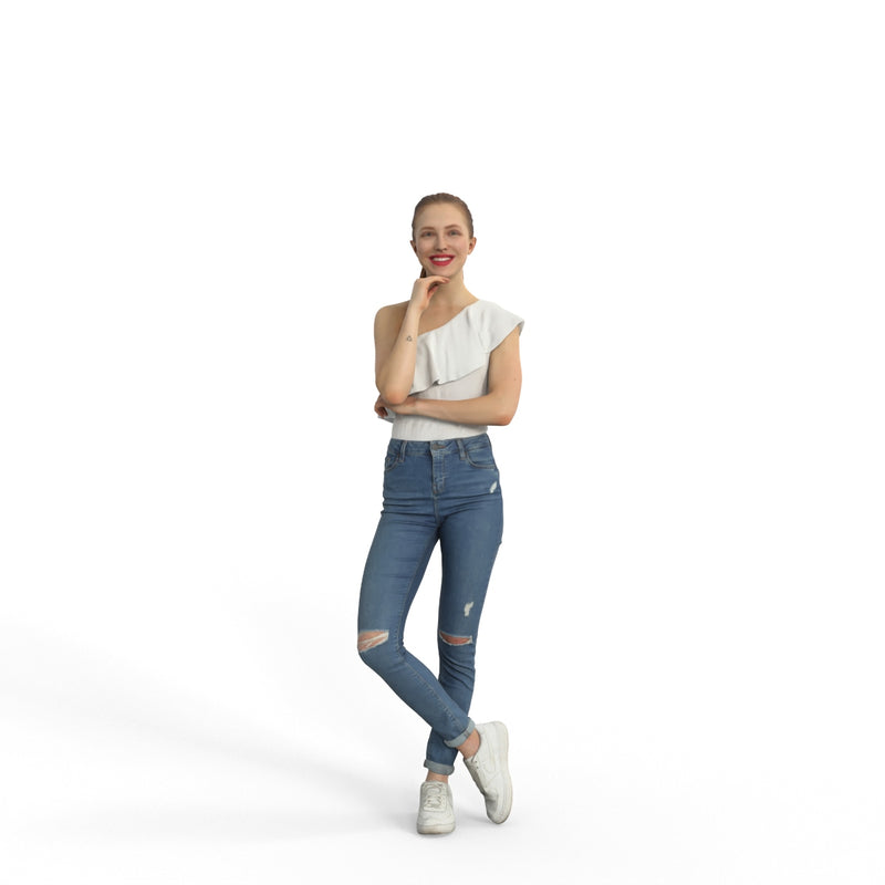 Casual Woman | grp0001hd2o01p01s | Ready-Posed 3D Human Model (Woman / Still)