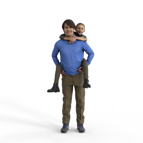 Casual Family | cfam0306hd2o01p01s | Ready-Posed 3D Human Model (Father/Daughter/Family/Still)