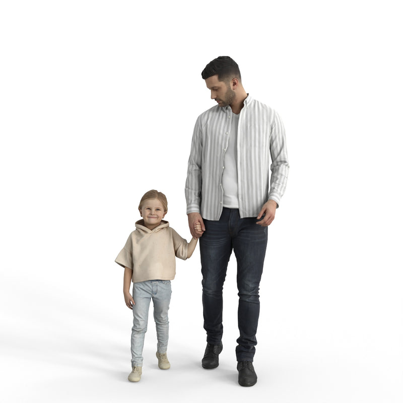 Casual Family | cfam0307hd2o01p01s| Ready-Posed 3D Human Model (Father/Daughter/Family/Still)