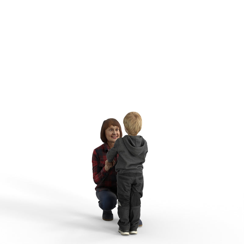Casual Family | cfam0310hd2o01p01s | Ready-Posed 3D Human Model (Grandmother/Grandson/Family/Still)