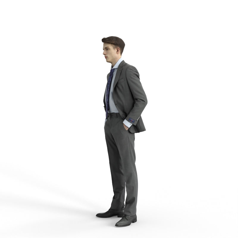 Business Man | bman0312hd2o03p02s | Ready-Posed 3D Human Model (Man / Still)