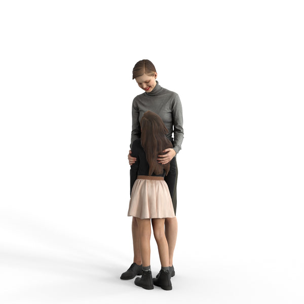 Casual Family | cfam0311hd2o01p01s| Ready-Posed 3D Human Model (Woman/Mom/Daughter/Still)
