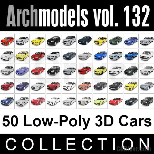 Archmodels vol. 132 (Evermotion 3D Models) - 50 Low Poly 3D Cars