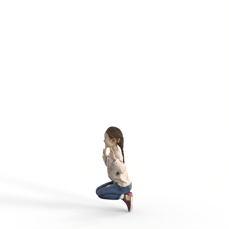 Casual Girl Child | cgirl0303hd2o01p01s | Ready-Posed 3D Human Model (Girl / Still)