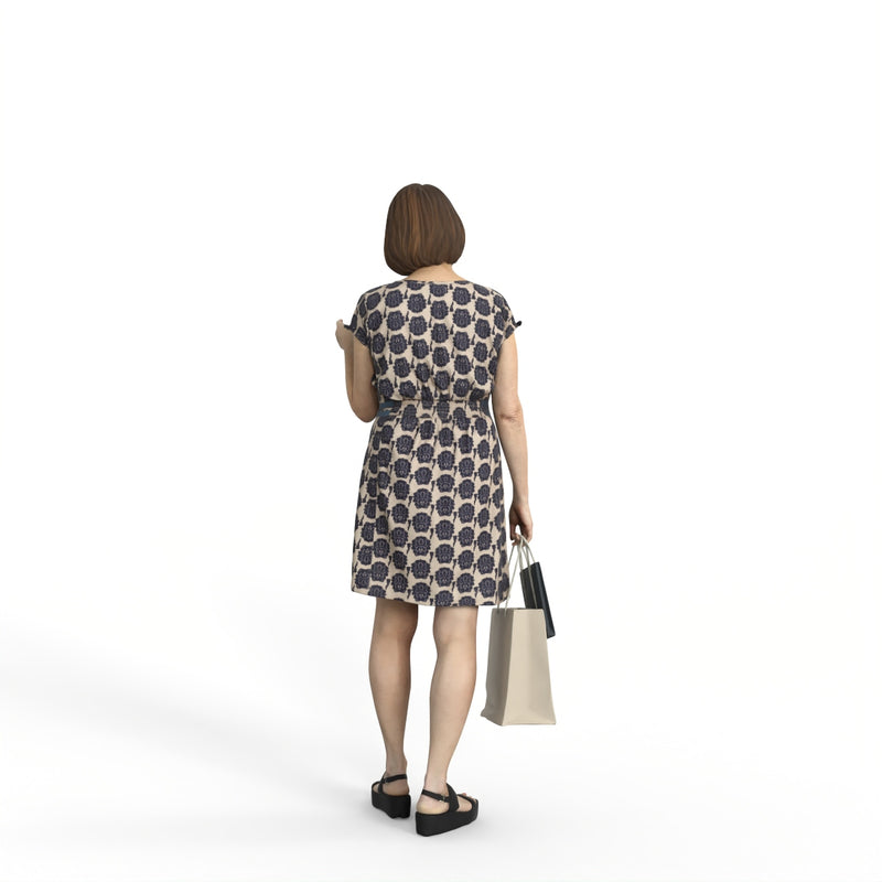 Casual Woman| shp0008hd2o01p01s | Ready-Posed 3D Human Model (Woman / Still)