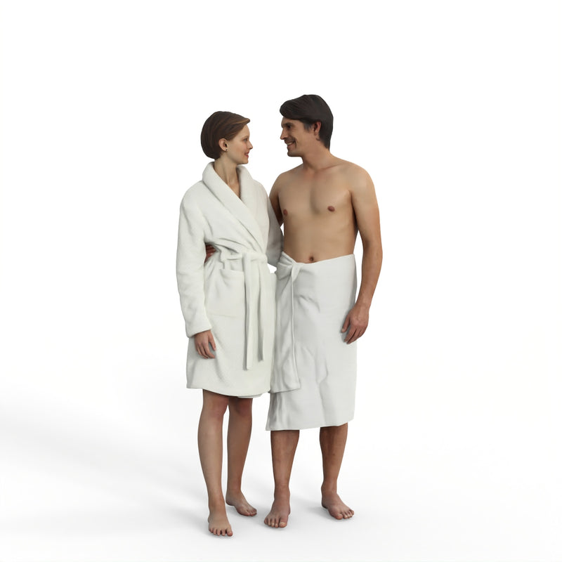 Spa Couple | spa0005hd2o01p01s | Ready-Posed 3D Human Model (Man / Still)