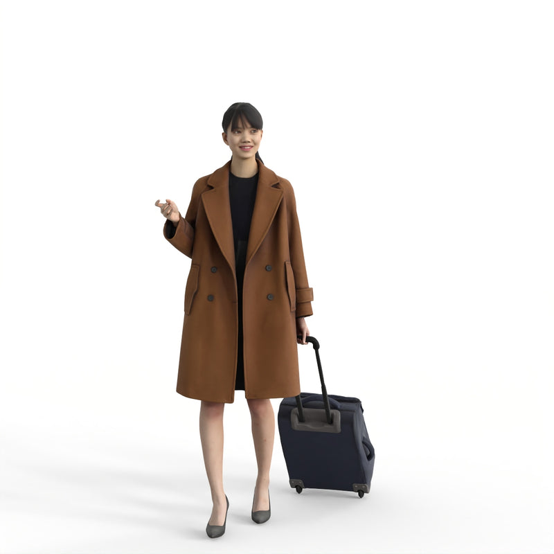 AXYZ Design | Traveling Woman| tra0016hd2o01p01s| Ready- Posed 3D Human Model (Woman)