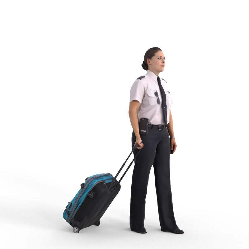 AXYZ Design | Pilot Traveling Woman | wwom0200hd2o01p01s| Ready- Posed 3D Human Model (Female)