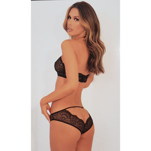 Black Lace Sheer Cutout Halter Bra & Panty Set