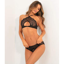 Load image into Gallery viewer, Black Lace Sheer Cutout Halter Bra & Panty Set