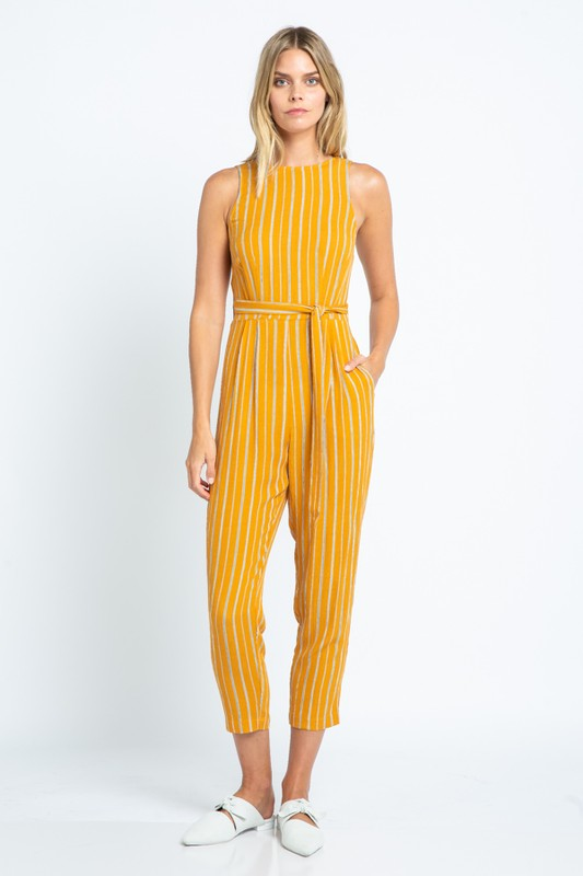 Cropped Crossback Jumpsuit (Mustard)