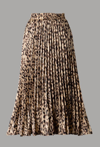 Carey Pleated Woven Midi (Animal)