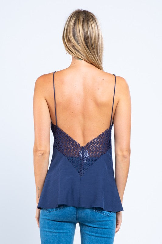 Lace Open Back Tank Top (Navy)