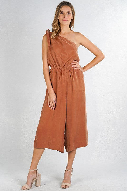 Cropped One Shoulder Jumpsuit (Bronze)
