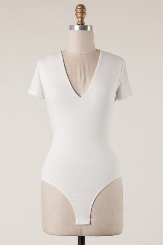 Short Sleeve V Bodysuit (Ivory)