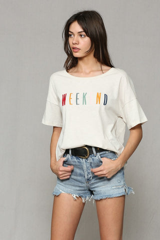 Weekend Embroidered Tee (Cream)