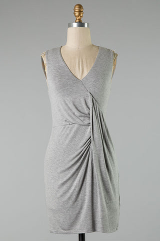 Crossover Knot Side Dress (Grey)
