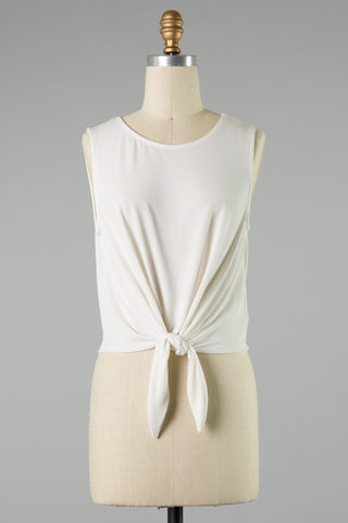 Tie Front Tank (Ivory)