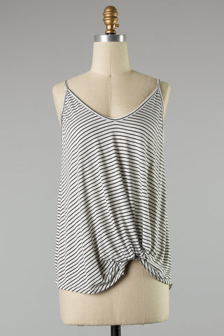 Knotted Stripe Tank (Black/Ivory)