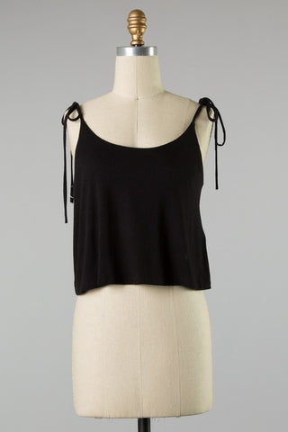 Shoulder Tying Strap Tank (Black)